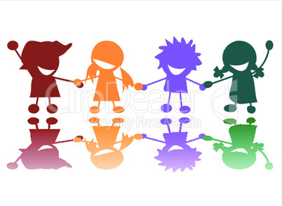 Multicolored children illustration.eps