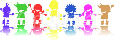 Silhouette of children in colors and races holding hands.eps