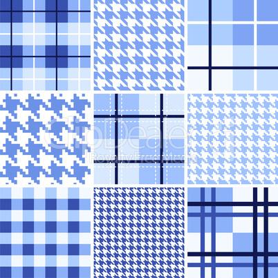 Set of blue seamless pattern