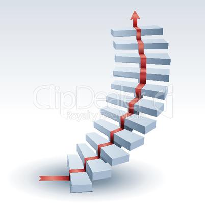 Treppe und Pfeil