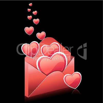 Briefumschlag und Herzen