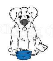 Cartoon Dog and Bowl