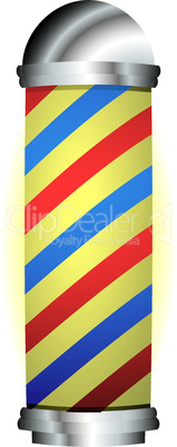red and blue barbers pole