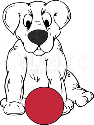 Cartoon Dog and Ball