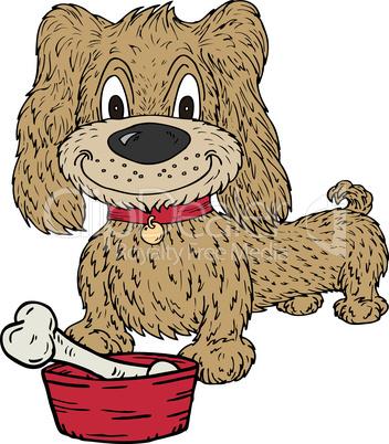 Cartoon Dog and Bone In  A Bowl