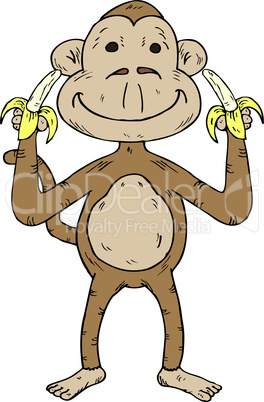 Cartoon Monkey With Two Banana