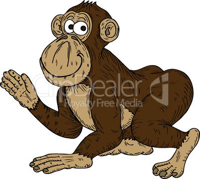 Cartoon Monkey Waving