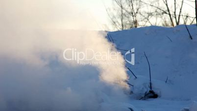energy conservation in winter Russia -steam from manhole