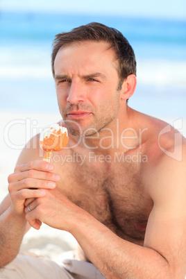 Man eating an ice cream