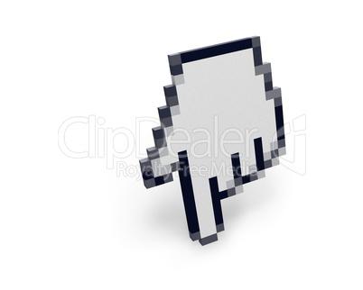 Hand cursor standing left view