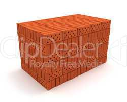 Stack of orange bricks isolated on white