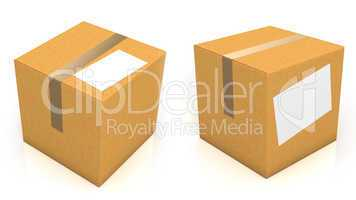 Carton box with blank paper for text