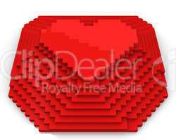 Pyramid with heart on top made of red cubic pixels, front view