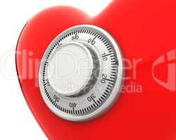 Red heart with a numeric safe lock closeup