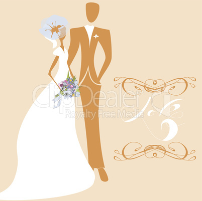 Wedding card with inscription LOVE