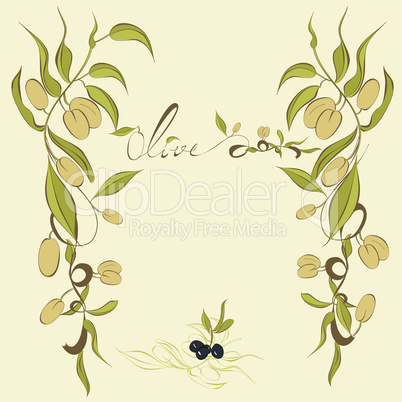 Background with olive's branches
