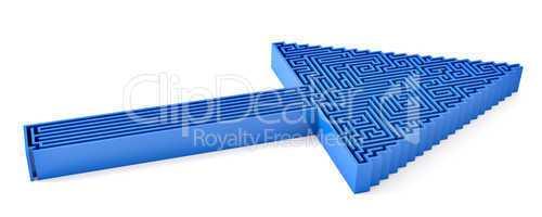 Pfeil in blau mit Labyrint