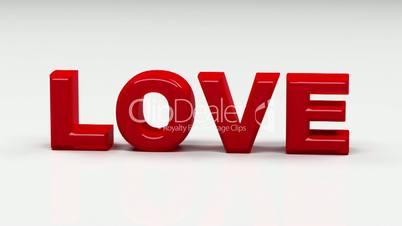 """Schriftzug """"LOVE"""" zerspringt und wird wieder ganz"""