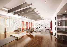 Home interior of apartment 3d render