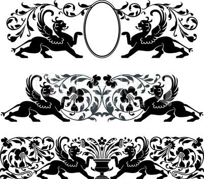 Antique heraldic ornaments