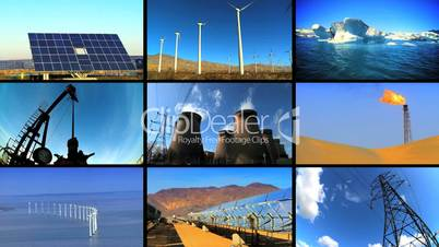 Montage of Clean Energy & Fossil Pollution