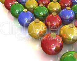 A lot of christmas glossy and shiny balls with different colors