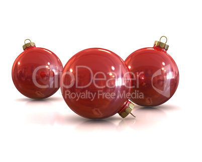 Few Red christmas glossy and shiny balls isolated