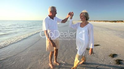Seniors Romantic Beach Dancing