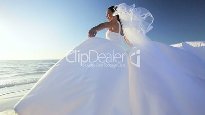 Wedding Dress Blowing in the Breeze