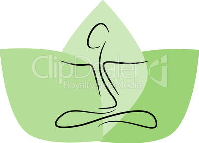 Yoga icon with green leafs
