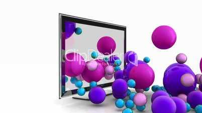 Flachbildfernseher mit bunten Bällen