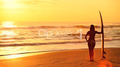 Surfer Girl at Sunrise