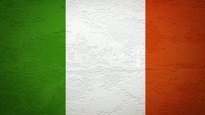 Wand mit italienischer Flagge wird gesprengt