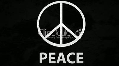 """Schwarze Wand mit weißen """"Peace""""Zeichen"""