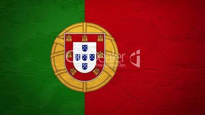 Wand mit portugiesischer Flagge wird gesprengt