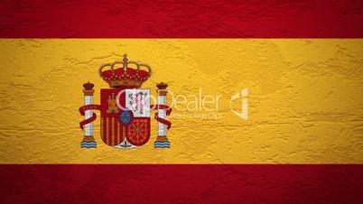 Wand mit spanischer Flagge wird gesprengt