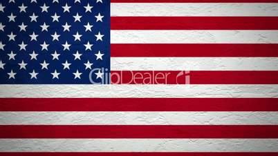 Wand mit Flagge der USA wird gesprengt