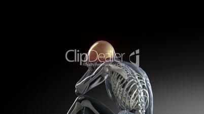 Kopfschmerzen. Sitzendes Skelett hebt sich den Kopf