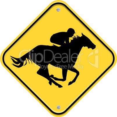 Yellow sign with jockey