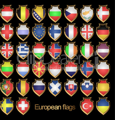 European flags-badges.