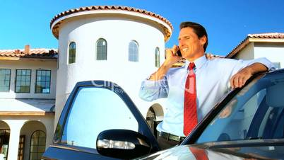 Male Architect Using Cell Phone on Site