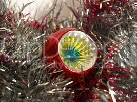 Christmas bauble and tinsel