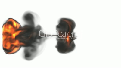 Smoke and flame jet with slow motion. Alpha channel is included