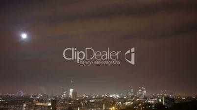 London skyline Moon Time lapse