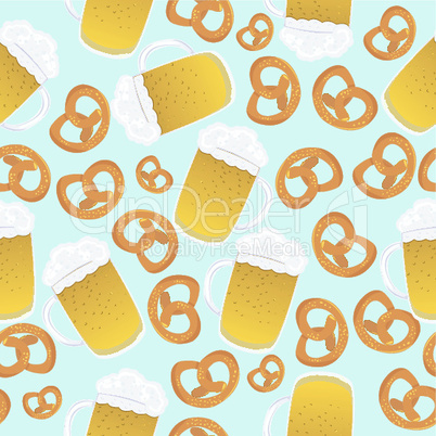 Beer mugs and pretzels.eps