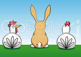 Hase mit zwei Hühnern auf einer Wiese