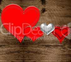 rote Herzen auf Holz Vorlage Muster