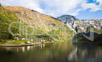 Scandinavian landscape: Fjord, mountains