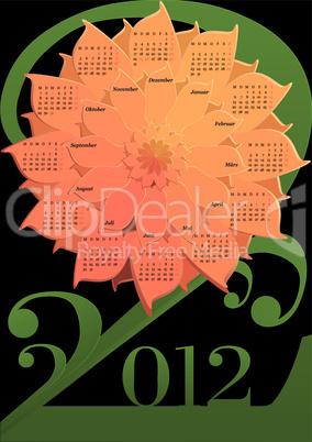 Kalender 2012 - stilisierte Blume (Feiertage Deutschland)