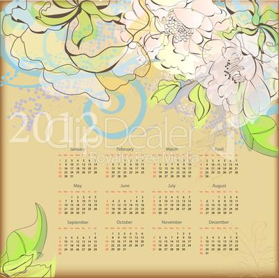 Decorative calendar for 2012